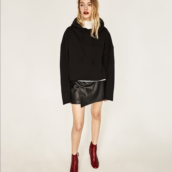 Zara Pants - Zara Faux Leather Gathered Layered Mini Skort